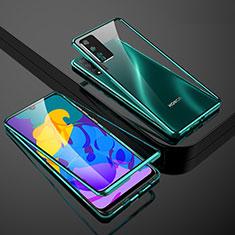 Handyhülle Hülle Luxus Aluminium Metall Rahmen Spiegel 360 Grad Ganzkörper Tasche für Huawei Honor Play4T Pro Grün
