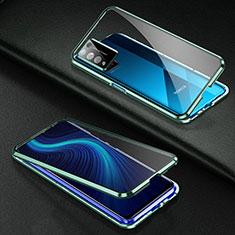 Handyhülle Hülle Luxus Aluminium Metall Rahmen Spiegel 360 Grad Ganzkörper Tasche für Huawei Honor X10 5G Grün