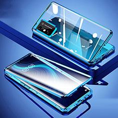 Handyhülle Hülle Luxus Aluminium Metall Rahmen Spiegel 360 Grad Ganzkörper Tasche für Huawei Honor X10 Max 5G Blau