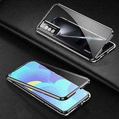 Handyhülle Hülle Luxus Aluminium Metall Rahmen Spiegel 360 Grad Ganzkörper Tasche für Huawei Nova 7 5G Schwarz