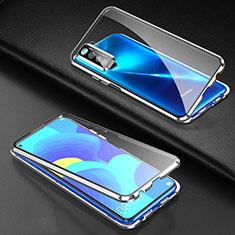 Handyhülle Hülle Luxus Aluminium Metall Rahmen Spiegel 360 Grad Ganzkörper Tasche für Huawei P40 Lite 5G Silber