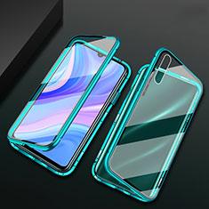 Handyhülle Hülle Luxus Aluminium Metall Rahmen Spiegel 360 Grad Ganzkörper Tasche für Huawei Y8p Grün