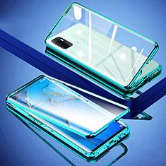 Handyhülle Hülle Luxus Aluminium Metall Rahmen Spiegel 360 Grad Ganzkörper Tasche für Oppo A32 Grün