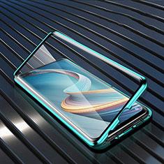 Handyhülle Hülle Luxus Aluminium Metall Rahmen Spiegel 360 Grad Ganzkörper Tasche für Oppo A92s 5G Grün