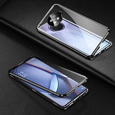 Handyhülle Hülle Luxus Aluminium Metall Rahmen Spiegel 360 Grad Ganzkörper Tasche für Oppo Ace2 Schwarz