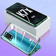 Handyhülle Hülle Luxus Aluminium Metall Rahmen Spiegel 360 Grad Ganzkörper Tasche für Oppo K7x 5G Grün