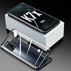 Handyhülle Hülle Luxus Aluminium Metall Rahmen Spiegel 360 Grad Ganzkörper Tasche für Oppo K7x 5G Schwarz