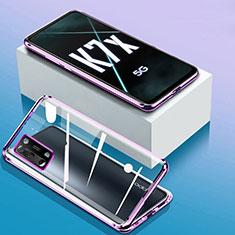 Handyhülle Hülle Luxus Aluminium Metall Rahmen Spiegel 360 Grad Ganzkörper Tasche für Oppo K7x 5G Violett