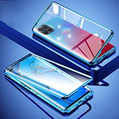 Handyhülle Hülle Luxus Aluminium Metall Rahmen Spiegel 360 Grad Ganzkörper Tasche für Oppo Reno4 F Blau