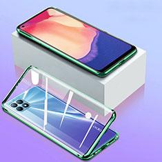 Handyhülle Hülle Luxus Aluminium Metall Rahmen Spiegel 360 Grad Ganzkörper Tasche für Oppo Reno4 SE 5G Grün