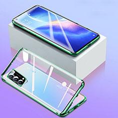Handyhülle Hülle Luxus Aluminium Metall Rahmen Spiegel 360 Grad Ganzkörper Tasche für Oppo Reno5 5G Grün