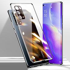Handyhülle Hülle Luxus Aluminium Metall Rahmen Spiegel 360 Grad Ganzkörper Tasche für Oppo Reno5 Pro 5G Schwarz