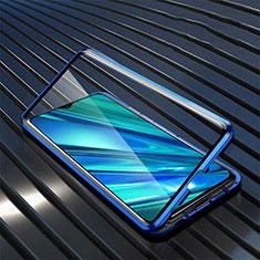 Handyhülle Hülle Luxus Aluminium Metall Rahmen Spiegel 360 Grad Ganzkörper Tasche für Realme 5i Blau