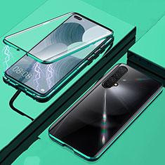 Handyhülle Hülle Luxus Aluminium Metall Rahmen Spiegel 360 Grad Ganzkörper Tasche für Realme X50 5G Grün