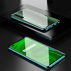 Handyhülle Hülle Luxus Aluminium Metall Rahmen Spiegel 360 Grad Ganzkörper Tasche für Realme X50 Pro 5G Grün