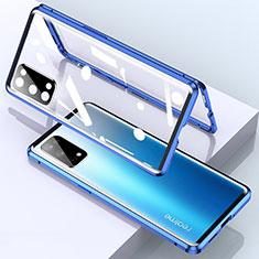 Handyhülle Hülle Luxus Aluminium Metall Rahmen Spiegel 360 Grad Ganzkörper Tasche für Realme X7 Pro 5G Blau