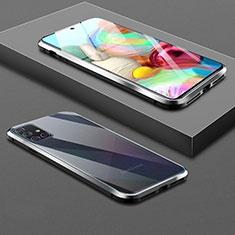 Handyhülle Hülle Luxus Aluminium Metall Rahmen Spiegel 360 Grad Ganzkörper Tasche für Samsung Galaxy A71 5G Schwarz
