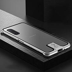 Handyhülle Hülle Luxus Aluminium Metall Rahmen Spiegel 360 Grad Ganzkörper Tasche für Sony Xperia 5 II Silber