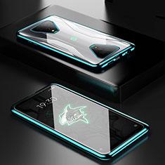 Handyhülle Hülle Luxus Aluminium Metall Rahmen Spiegel 360 Grad Ganzkörper Tasche für Xiaomi Black Shark 3 Grün