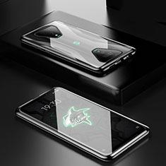 Handyhülle Hülle Luxus Aluminium Metall Rahmen Spiegel 360 Grad Ganzkörper Tasche für Xiaomi Black Shark 3 Schwarz