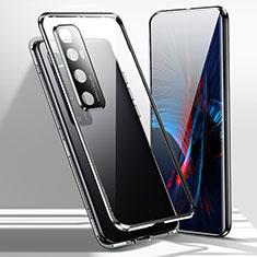 Handyhülle Hülle Luxus Aluminium Metall Rahmen Spiegel 360 Grad Ganzkörper Tasche für Xiaomi Mi 10 Ultra Schwarz