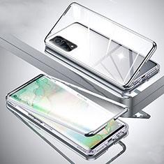 Handyhülle Hülle Luxus Aluminium Metall Rahmen Spiegel 360 Grad Ganzkörper Tasche für Xiaomi Mi 10T Pro 5G Silber