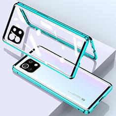 Handyhülle Hülle Luxus Aluminium Metall Rahmen Spiegel 360 Grad Ganzkörper Tasche für Xiaomi Mi 11 5G Grün