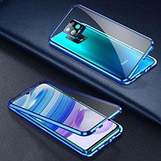 Handyhülle Hülle Luxus Aluminium Metall Rahmen Spiegel 360 Grad Ganzkörper Tasche für Xiaomi Redmi 10X Pro 5G Blau