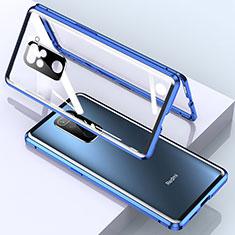 Handyhülle Hülle Luxus Aluminium Metall Rahmen Spiegel 360 Grad Ganzkörper Tasche für Xiaomi Redmi Note 9 Blau