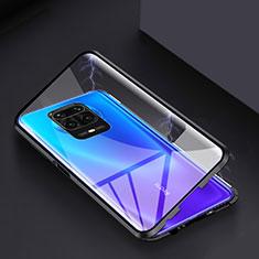 Handyhülle Hülle Luxus Aluminium Metall Rahmen Spiegel 360 Grad Ganzkörper Tasche für Xiaomi Redmi Note 9S Schwarz