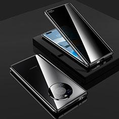 Handyhülle Hülle Luxus Aluminium Metall Rahmen Spiegel 360 Grad Ganzkörper Tasche K01 für Huawei Mate 40 Pro Schwarz
