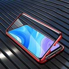 Handyhülle Hülle Luxus Aluminium Metall Rahmen Spiegel 360 Grad Ganzkörper Tasche M01 für Huawei Enjoy 10 Plus Rot