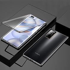 Handyhülle Hülle Luxus Aluminium Metall Rahmen Spiegel 360 Grad Ganzkörper Tasche M01 für Huawei Honor 30 Pro Schwarz