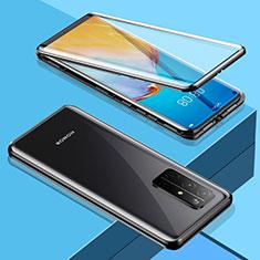 Handyhülle Hülle Luxus Aluminium Metall Rahmen Spiegel 360 Grad Ganzkörper Tasche M01 für Huawei Honor 30S Schwarz