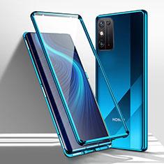 Handyhülle Hülle Luxus Aluminium Metall Rahmen Spiegel 360 Grad Ganzkörper Tasche M01 für Huawei Honor X10 Max 5G Blau