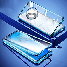Handyhülle Hülle Luxus Aluminium Metall Rahmen Spiegel 360 Grad Ganzkörper Tasche M01 für Huawei Mate 40 Blau