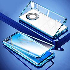 Handyhülle Hülle Luxus Aluminium Metall Rahmen Spiegel 360 Grad Ganzkörper Tasche M01 für Huawei Mate 40 Pro+ Plus Blau