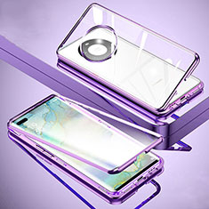 Handyhülle Hülle Luxus Aluminium Metall Rahmen Spiegel 360 Grad Ganzkörper Tasche M01 für Huawei Mate 40 Pro+ Plus Violett