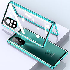 Handyhülle Hülle Luxus Aluminium Metall Rahmen Spiegel 360 Grad Ganzkörper Tasche M01 für Huawei Nova 8 5G Cyan