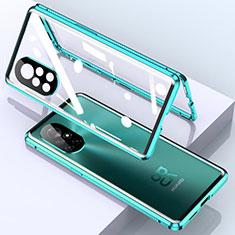 Handyhülle Hülle Luxus Aluminium Metall Rahmen Spiegel 360 Grad Ganzkörper Tasche M01 für Huawei Nova 8 Pro 5G Cyan