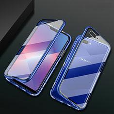 Handyhülle Hülle Luxus Aluminium Metall Rahmen Spiegel 360 Grad Ganzkörper Tasche M01 für Oppo A12e Blau
