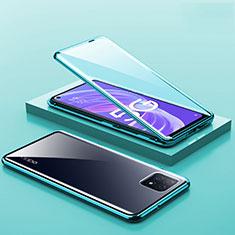 Handyhülle Hülle Luxus Aluminium Metall Rahmen Spiegel 360 Grad Ganzkörper Tasche M01 für Oppo A73 5G Grün