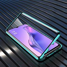 Handyhülle Hülle Luxus Aluminium Metall Rahmen Spiegel 360 Grad Ganzkörper Tasche M01 für Oppo A8 Grün