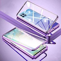 Handyhülle Hülle Luxus Aluminium Metall Rahmen Spiegel 360 Grad Ganzkörper Tasche M01 für Oppo Reno4 SE 5G Violett