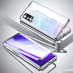 Handyhülle Hülle Luxus Aluminium Metall Rahmen Spiegel 360 Grad Ganzkörper Tasche M01 für Oppo Reno5 Pro 5G Silber