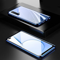 Handyhülle Hülle Luxus Aluminium Metall Rahmen Spiegel 360 Grad Ganzkörper Tasche M01 für Realme X50m 5G Blau