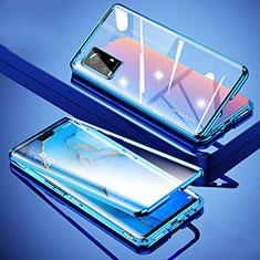 Handyhülle Hülle Luxus Aluminium Metall Rahmen Spiegel 360 Grad Ganzkörper Tasche M01 für Vivo V20 Pro 5G Blau