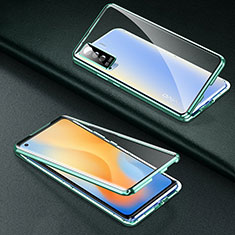 Handyhülle Hülle Luxus Aluminium Metall Rahmen Spiegel 360 Grad Ganzkörper Tasche M01 für Vivo X50 5G Grün