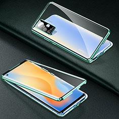 Handyhülle Hülle Luxus Aluminium Metall Rahmen Spiegel 360 Grad Ganzkörper Tasche M01 für Vivo X51 5G Grün