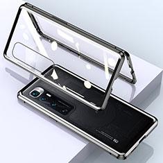 Handyhülle Hülle Luxus Aluminium Metall Rahmen Spiegel 360 Grad Ganzkörper Tasche M01 für Xiaomi Mi 10 Ultra Schwarz